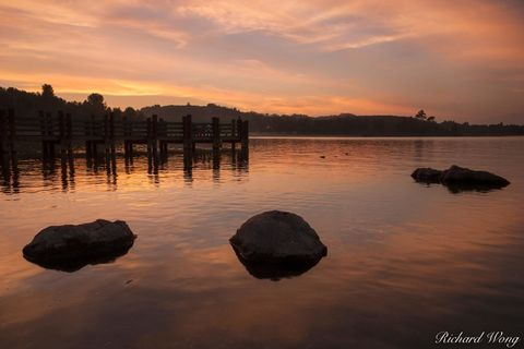California, Los Angeles County, clouds, ducks, dusk, evening, fishing pier, frank g bonelli county park, landscape, nature, orange, outdoors, outside, puddingstone lake, reflections, san dimas, scener