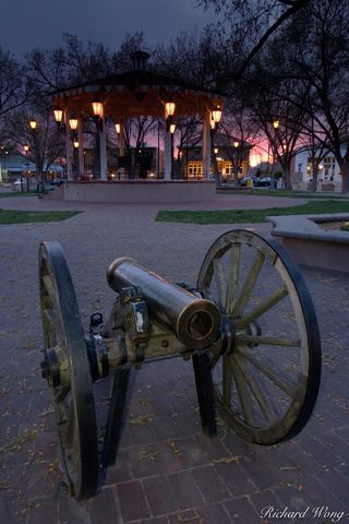 Albuquerque, New Mexico, Old Town Albuquerque, Old Town Plaza, cannon, dusk, sunset, sunsets