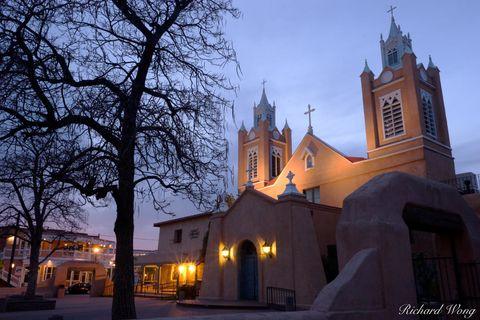 Albuquerque, New Mexico, Old Town Albuquerque, Old Town Plaza, San Felipe Neri Catholic Church, churches, dusk, old buildings, spanish architecture, sunset