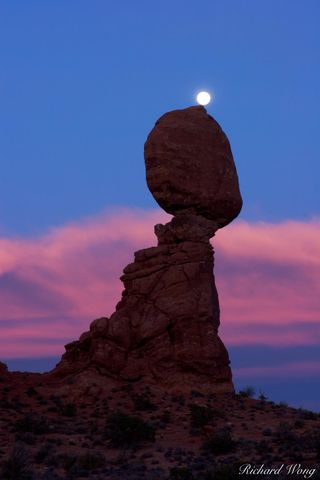 Arches National Park, Colorado Plateau, Moab area, Utah, alpenglow, balanced rock, balancing act, clouds, erosion, full moon, geological wear and tear, moab entrada, moons, np, previsualized photos, r