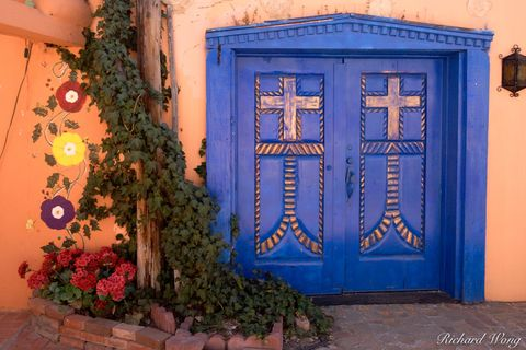 Albuquerque, New Mexico, Old Town Plaza, adobe wall, blue door, colorful, colors, southwest, southwestern, walls, wooden doors