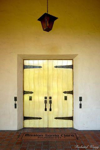 1777, California Missions, Mission Santa Clara de Asis, Santa Clara University, catholic, chapel door, chapels, christianity, doors, doorway, doorways, el camino real, historical sites, site, spanish,