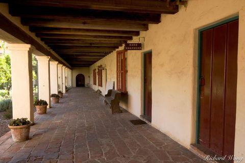 California Missions, Mission Santa Barbara, columns, corridors, courtyard, courtyards, hallway corridor, hallways, historical landmarks, path, paths, spanish architecture