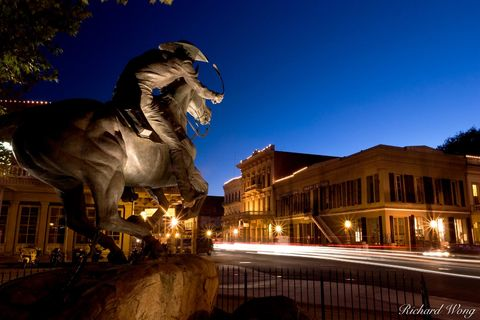 California, Gold Rush Country, Old Sacramento, Sacramento, State Historic Park, The Pony Express Monument, Wells Fargo Building, architecture, buildings, dusk, national historic landmarks, street, str