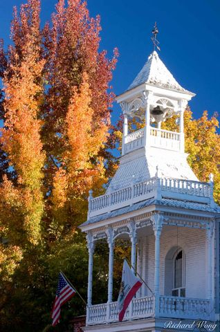 California, Gold Rush Country, Nevada City, Nevada County historical society museum, Sierra Nevada Foothills, Victorian architecture, americana, autumn leaves, color, colorful, fall colors, fall folia