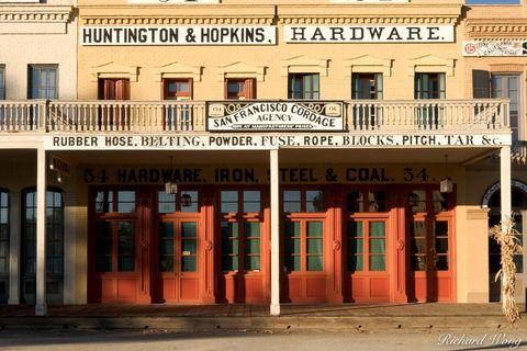 California, California State Historic Park, Central Pacific Railroad Company, Gold Country, Huntington & Hopkins Hardware store, Old Sacramento SHP, Old Town Sacramento, buildings, gold rush era archi