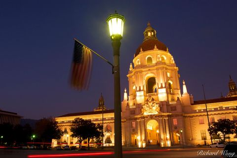 San Gabriel Valley, baroque architecture, buildings, civic center, clear blue sky, county, cupola columns, domes, dusk, evening, evenings, exterior, flags, garfield avenue, government building, histor