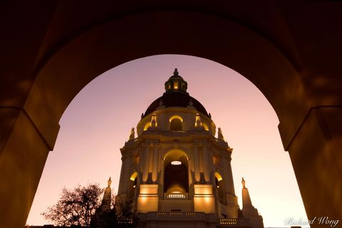 San Gabriel Valley, arch, arches, baroque architecture, buildings, civic center, county, domes, dusk, evening, evenings, exterior, government building, historic landmark, historical landmarks, illumin