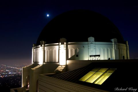 art deco, astronomy, city lights, dome, educational institution, evening, exterior, griffith observatory, griffith park, hollywood hills, l.a, los angeles, modern, modernist architecture, moon, museum