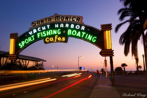 Los Angeles County, arch, arches, archway, beach town, blur, cars, drive, dusk, evening, landmark, light trails, neon lights, north america, outdoors, pier entrance, santa monica pier, sightseeing, si