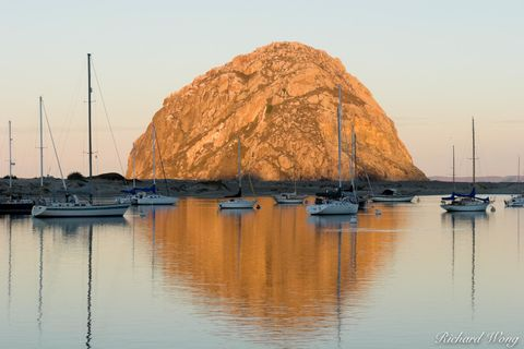 Sunrise Light on Morro Rock, Morro Bay, California, photo