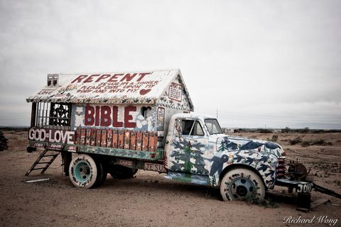 Religious Symbolism Painted on Truck at Salvation Mountain, Imperial County, California, photo