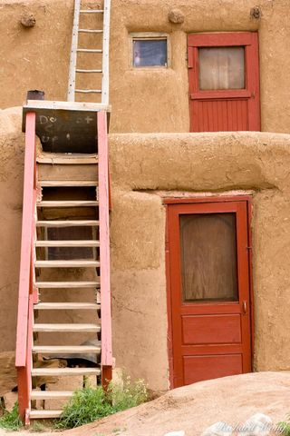 New Mexico, adobe, architecture, door, historic landmark, history, home, homes, indian reservation, ladder, ladders, landmarks, multi-story, native american, old, red doors, red willow indians, reside