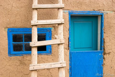 New Mexico, adobe, architecture, blue door, blue window, doors, historic landmark, history, home, homes, indian reservation, ladder, ladders, landmarks, multi-story, native american, old, red willow i