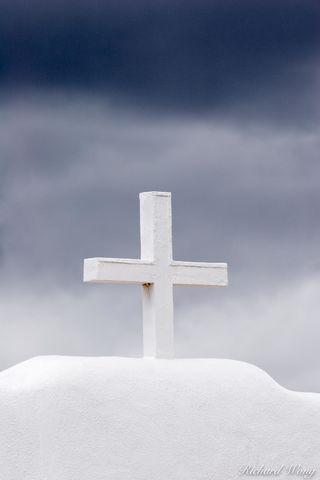 Christian Cross Atop St. Jerome Chapel, Taos Pueblo, New Mexico, photo