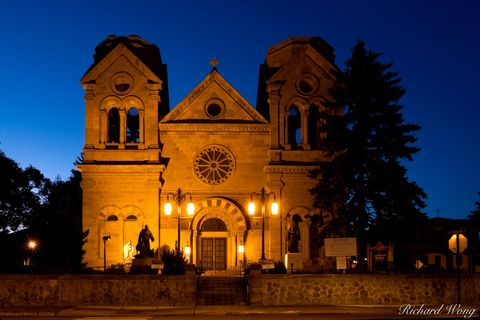 New Mexico, Santa Fe, cathedrals, catholic, catholic church, chapel, chapels, church, churches, dawn, exterior, lights, morning, north america, roman catholic cathedral, romanesque revival architectur