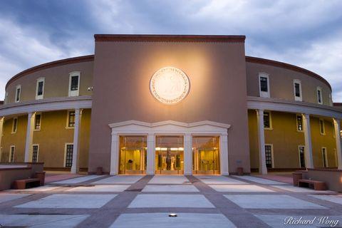 New Mexico, Santa Fe, downtown, dusk, evening, government, greek revival architecture, illuminate, illuminated, illumination, legislative building, legislature, lights, lit, new mexico state capitol,