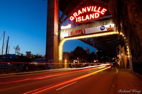 bc, blur, bridges, british columbia, canada, canadian, cars, cities, city, dusk, evening, granville island, granville street bridge, light trail, metropolis, motion, neon, night, north america, sign,