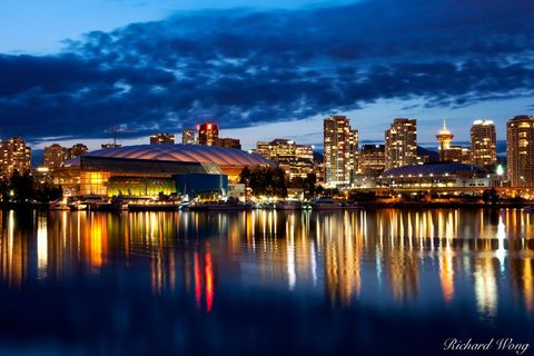 Downtown Vancouver Skyline at Night, British Columbia, Canada, photo