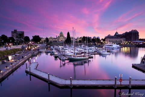 alpenglow, american, attraction, attractions, bc, boats, british columbia, canada, canadian, cities, cityscape, coastal, coastline, dock, downtown, dusk, evening, ferry, flowers, harbor, historic plac