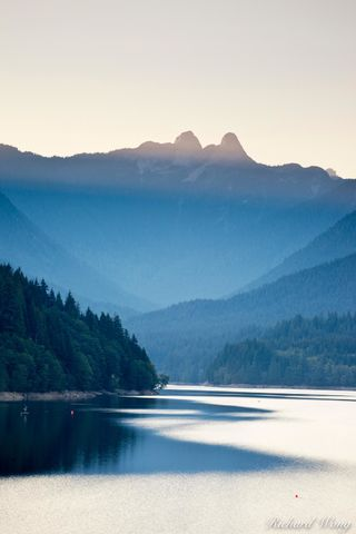 The Lions Forming a Backdrop over Capilano Lake - Capilano River Regional Park, North Vancouver, B.C., photo