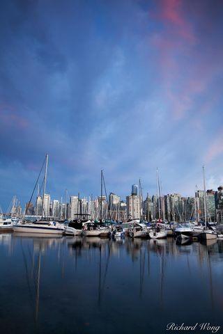 alpenglow, b.c, bay, boat, boats, british columbia, building, buildings, burrard inlet, canada, cities, city, cityscape, clouds, coal harbor marina, downtown, harbor, metropolis, north america, scenic