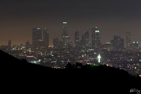cahuenga pass, cities, city, city skyline, downtown l.a, evening, giant cross, hollywood hills, los angeles, mulholland drive, night, north america, outdoors, santa monica mountains national recreatio