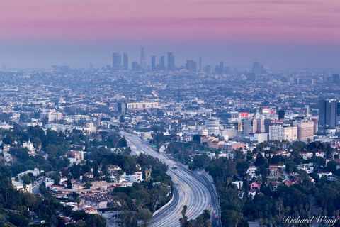 cities, city, city skyline, downtown l.a, dusk, evening, freeway, freeways, highway 101, hollywood hills, los angeles, mulholland drive, night, north america, outdoors, santa monica mountains national