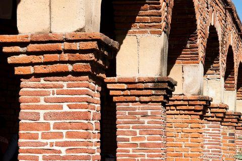 California Missions, architecture, brick, columns, historic landmarks, mission san juan capistrano, orange county, patterns, southern california, spanish, travel, united states of america, usa