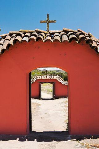christian cross, doorway, mission la purisima, lompoc, california, photo