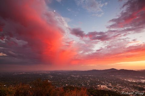 Angeles National Forest, Los Angeles County, San Gabriel Valley, alpenglow, altadena, cities, city, clouds, half moon, landscape, landscapes, millard canyon, outdoors, pasadena, san gabriel mountain f