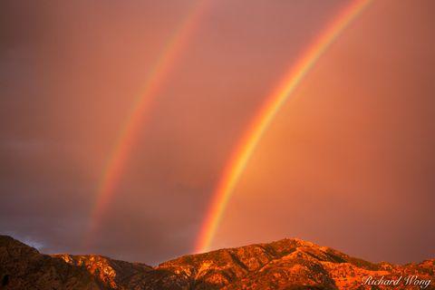 Angeles National Forest, Los Angeles County, San Gabriel Mountains, San Gabriel Valley, alpenglow, altadena, cities, city, clouds, double rainbow, landscape, landscapes, millard canyon, monsoon season