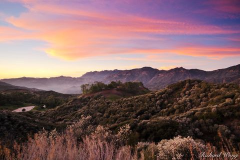 Los Angeles County, alpenglow, clouds, nature, outdoor, outside, santa monica mountains national recreation area, scenery, scenic landscape, southern california, sunset, united states of america, usa
