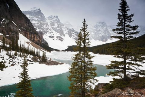 alberta, banff, banff national park, canada, canadian rockies, chilly, cold, coldness, color image, from shore, from shore point of view, from shore pov, frozen, horizontal format, ice, icy, lac morai