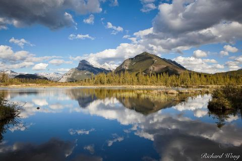alberta, banff, banff national park, canada, canadian rockies, color image, horizontal format, lacs vermillion, lake, lakes, landscape, landscape photography, mount rundle, mt rundle, nature, north am