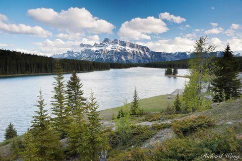 alberta, banff, banff national park, canada, canadian rockies, clouds, color image, evening, horizontal format, lake, lakes, landscape, landscape photography, mount rundle, mt rundle, nature, north am