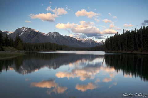 alberta, banff, banff national park, canada, canadian rockies, clouds, color image, evening, fairholme range, horizontal format, johnson lake, lake, lakes, landscape, landscape photography, nature, no