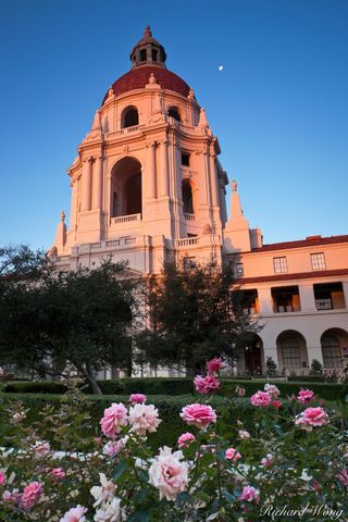 Los Angeles County, San Gabriel Valley, alpenglow, arch, arches, baroque architecture, buildings, civic center, courtyard, courtyards, dawn, domes, exterior, flowers, government building, historic lan