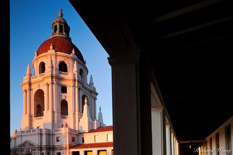 Los Angeles County, San Gabriel Valley, alpenglow, arch, archway, baroque architecture, buildings, civic center, dawn, domes, exterior, frame, framing, government building, hall, halls, hallway, histo