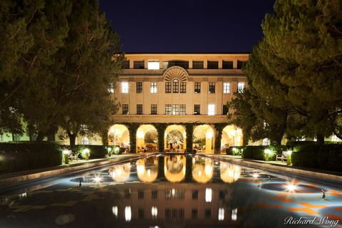 Los Angeles County, San Gabriel Valley, architecture, beckman institute, building, california institute of technology, caltech, college campus, dark, dusk, evening, exterior, higher education, illumin