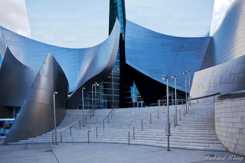 blue, building, buildings, downtown los angeles, entrance, exterior, frank gehry, l.a, modern contemporary architecture, outdoor, outside, sidewalk, sidewalks, southern california, stainless steel met