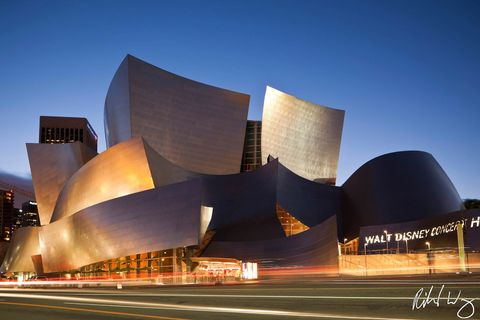 automobiles, blue, building, buildings, cars, downtown los angeles, dusk, evening, exterior, frank gehry, l.a, lights, modern contemporary architecture, motion, night, outdoor, outside, southern calif