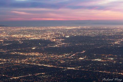Angeles National Forest, Los Angeles County, Pacific Ocean, San Gabriel Mountains, city, dodger stadium, downtown los angeles, dusk, evening, hazy, l.a north america, l.a skyline, landscape, lights, m