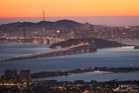 bay area, bay bridge, berkeley hills, city, downtown, dusk, evening, grizzly peak boulevard, landscape, metropolis, night, northern california, oakland, overlook, san francisco, scenery, scenic, skyli