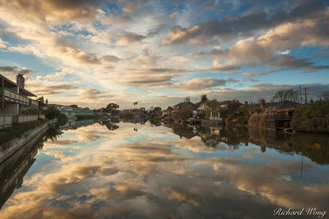 alameda, city, clouds, homes, lagoon, landscape, mirror, mirrored, neighborhood, northern california, outdoor, outside, reflected, residential, san francisco east bay, scenic, south shore, sunset, tra