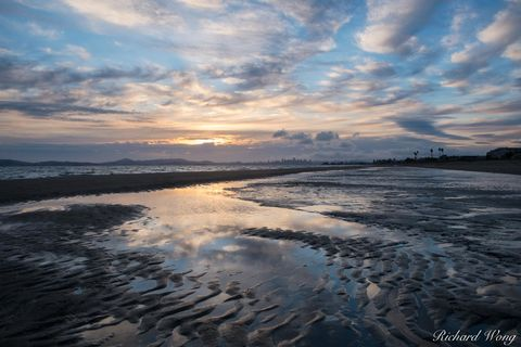 alameda, city, downtown san francisco skyline, dusk, east bay, ecosystem, landscape, low tide, marsh, nature, northern california, outdoors, outside, reflections, robert crown memorial state beach, sa