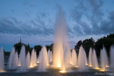 bc, bloedel conservatory, british columbia, canada, canadian, dancing waters fountain, dusk, evening, fountains, illumination, landmark, landscape, landscaping, lights, local attractions, night, north