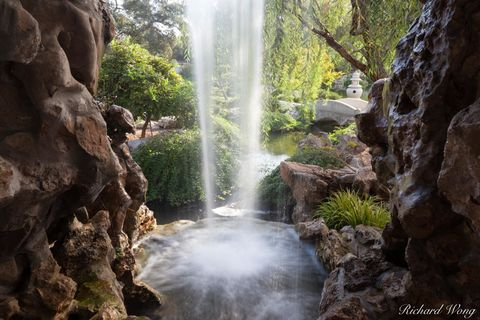 Los Angeles County, San Gabriel Valley, chinese garden, outdoors, outside, san marino, southern california, the huntington botanical gardens, travel, united states of america, usa, water, waterfall