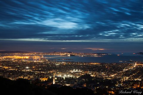 alameda county, cityscape, cloudy, dusk, evening, landscape, lawrence hall of sciences, lights, long exposure, night, northern california, outdoors, outside, san francisco bay, san francisco bay area,