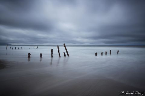 Pacific Ocean, blur, clouds, cloudy, dark, depressing, dreary, fort funston, long exposure, moody, motion, movement, nature, north america, northern california, ocean beach, outdoors, outside, pylons,